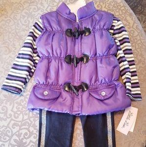 NWT Little Lass 3 Piece Purple Vest Outfit 2T